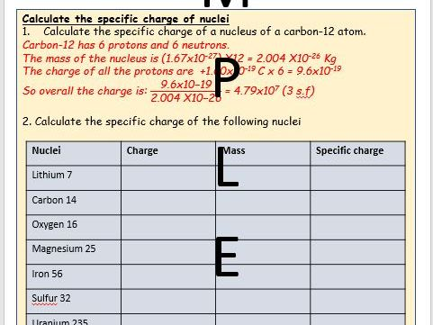 Specific charge Worksheet & Answers