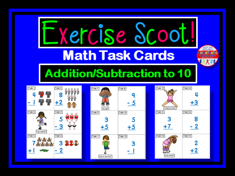 Addition and Subtraction to 10: Math Task Cards - Exercise Scoot!