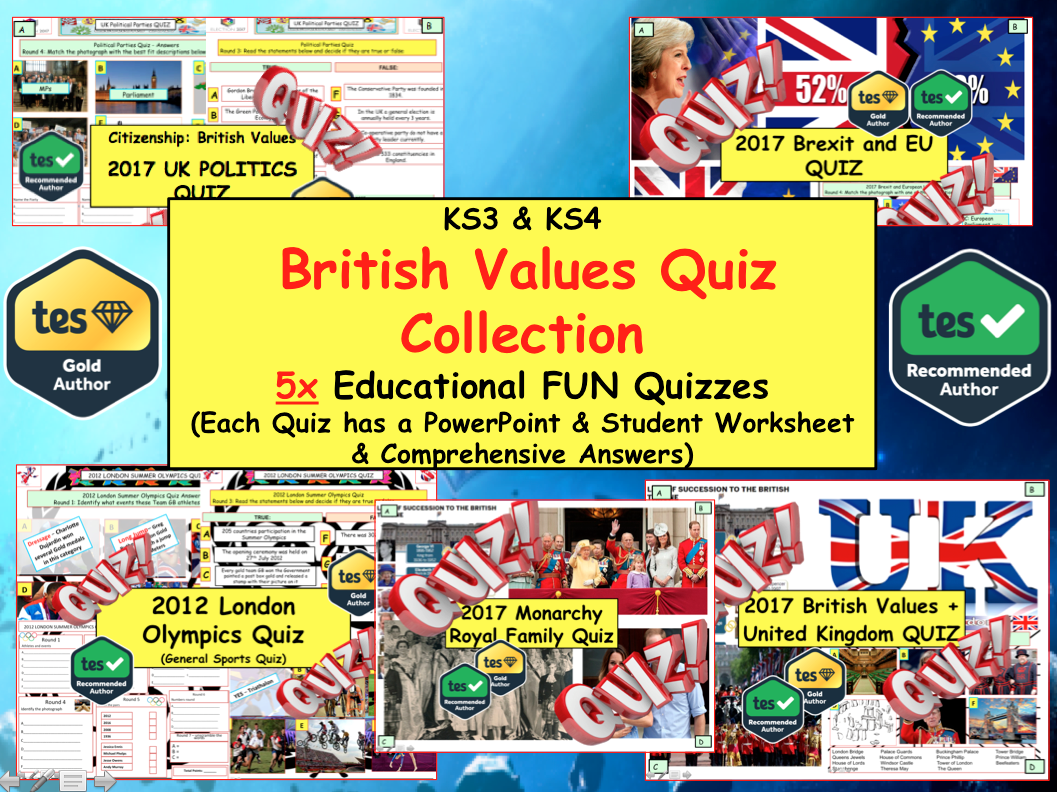 2017 Set of 5x British Values - Politics - Monarchy - Citizenship Fun News Quizzes