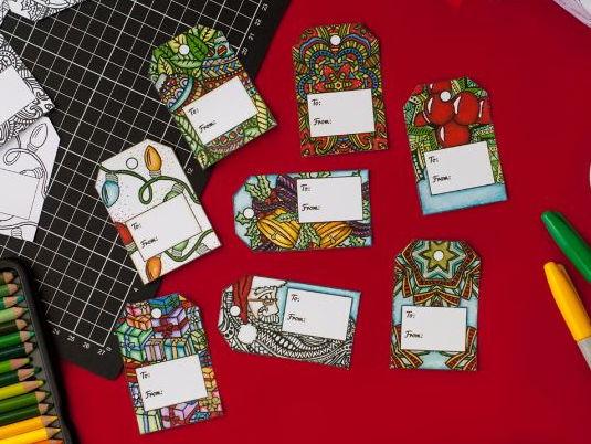 DIY Christmas Gift Tags - 8 templates to color your own gift tags for Christmas - Printable PDF
