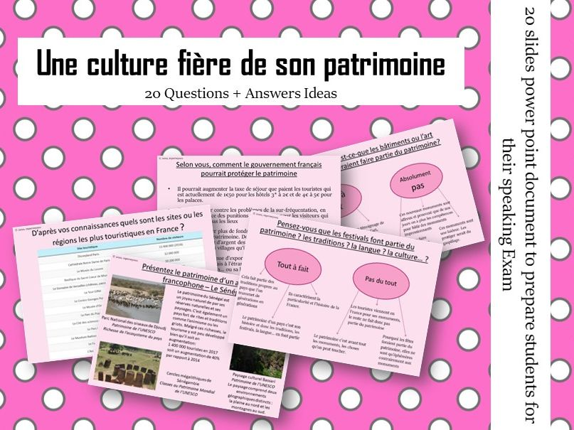 Le patrimoine -  Questions/Answers for the speaking exam ( French AS Heritage)