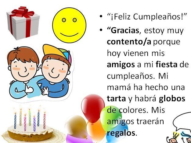 Spanish vocabulary Fiesta cumpleaños - Birthday party