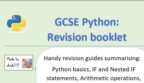 GCSE Python Revision Booklet (starter pack)
