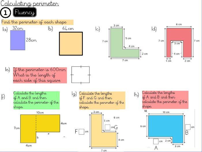 Perimeter and Area- Calculate perimeter- Year 5