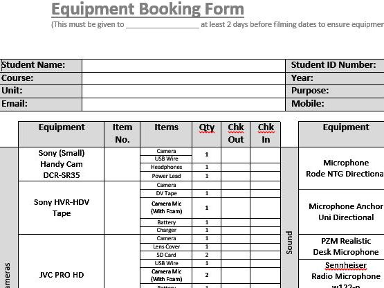 Equipment Booking Form (Film & TV/Media Students)