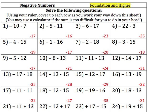 GCSE Maths - 150 Negative Numbers Questions and Answers. Differentiated according to ability.