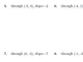 Equation of a line through a point with given slope worksheet (with solutions)