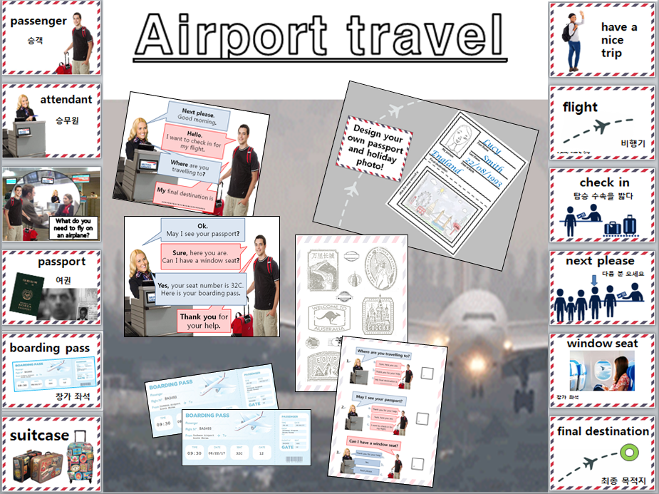Airport travel role play EFL KS2 whole lesson, flashcards, activity worksheets and check-in dialogue