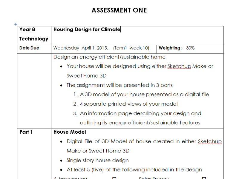 Housing Design for Climate - Customizable Assessment Task