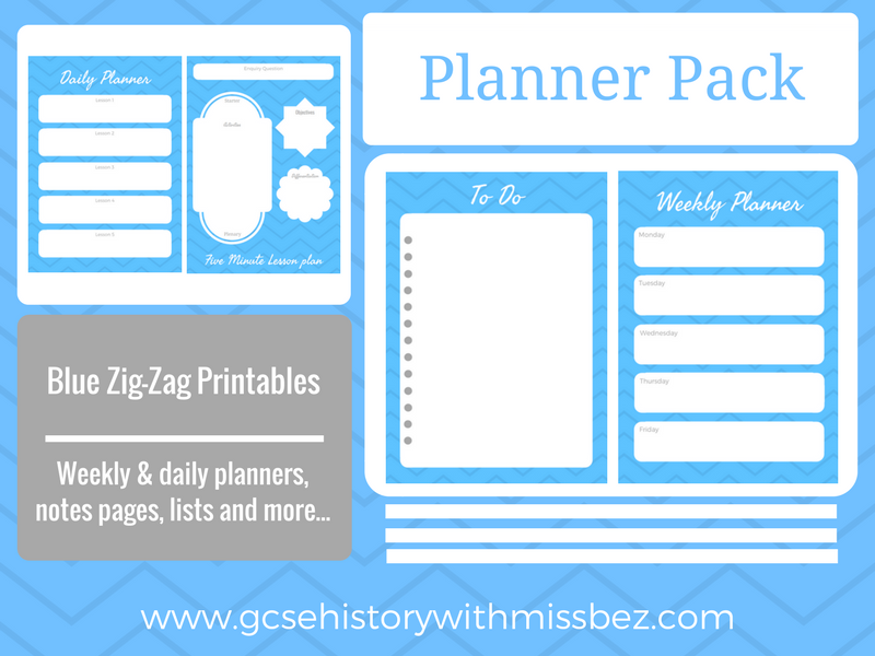 Teacher Planner Pack - Daily and Weekly Printables to Support Your Planning (Blue Zig-Zag Theme)