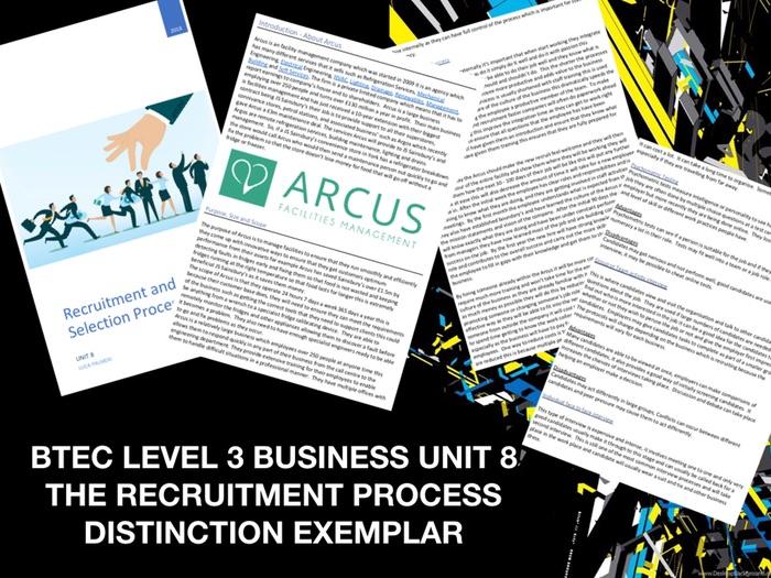 BTEC LEVEL 3 BUSINESS UNIT 8 THE RECRUITMENT PROCESS DISTINCTION EXEMPLAR