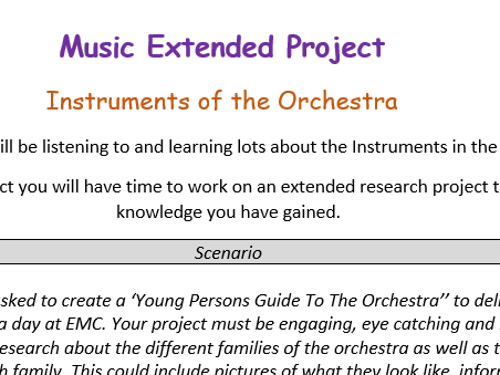 Music - Instruments of the Orchestra Research Project