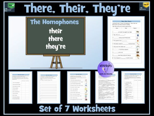 homophones there their and they 39 re worksheets by krazikas teaching resources. Black Bedroom Furniture Sets. Home Design Ideas