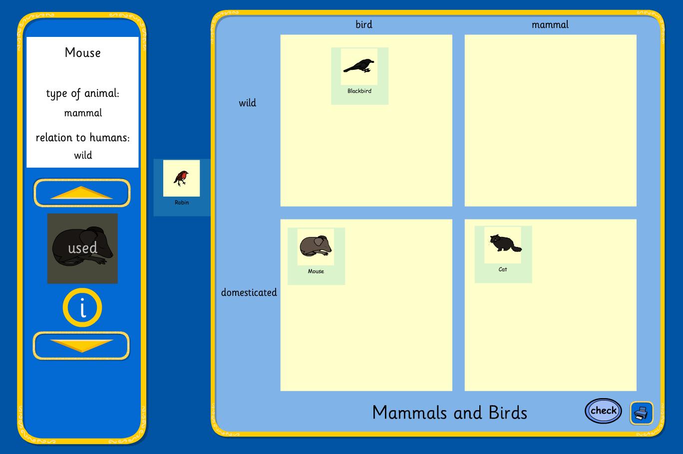 Carroll Diagram Mammals and Birds - KS2 Literacy