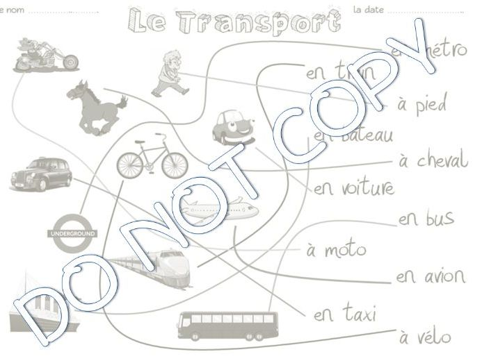 Primary French Resources: Transport