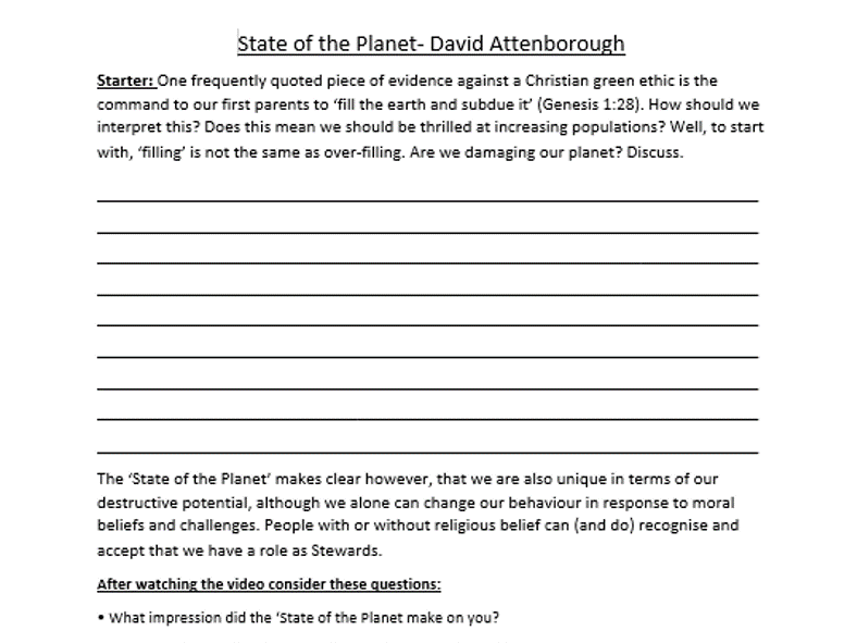 State of the Planet- Documentary worksheet