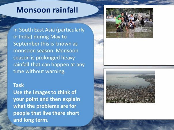 Hurrican/Cylone formation with Monsoon rainfall and examination homework - Eduqas