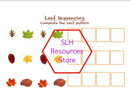 Autumn leaf pattern sequencing maths activity