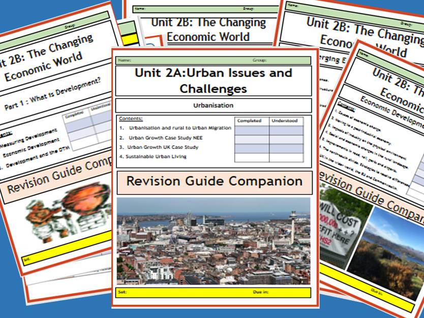 GCSE AQA 9-1 : Flipped Learning. The complete Changing Economic and Urban World Revision Guide Companions.