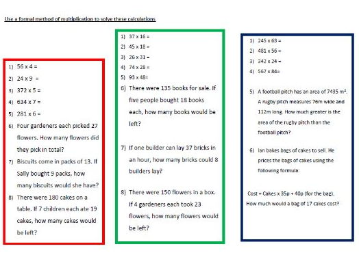 7 Differentiated Worksheets on Multiplication and Division