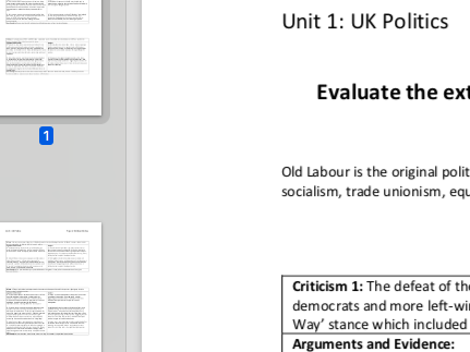 """EDEXCEL A level Politics """"Evaluate how far the modern Labour Party adheres to tradition"""" essay plan"""