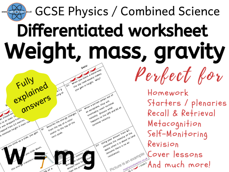 Resultant Forces / Weight - GCSE Physics and/or Combined Science Differentiated Equation Worksheet
