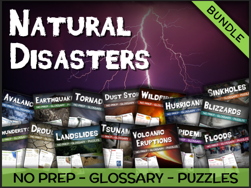 Bundle - Natural Disasters (Puzzles & Glossaries)