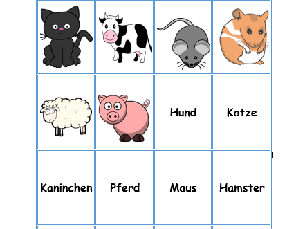German animals pairs cards