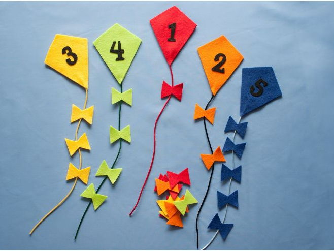 Counting and Colour Sorting Kites Felt Board Set Digital Pattern