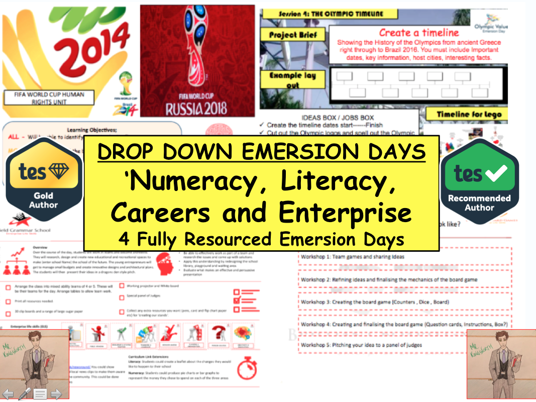 Careers and Enterprise, Numeracy and Literacy Themed  Drop Down Days