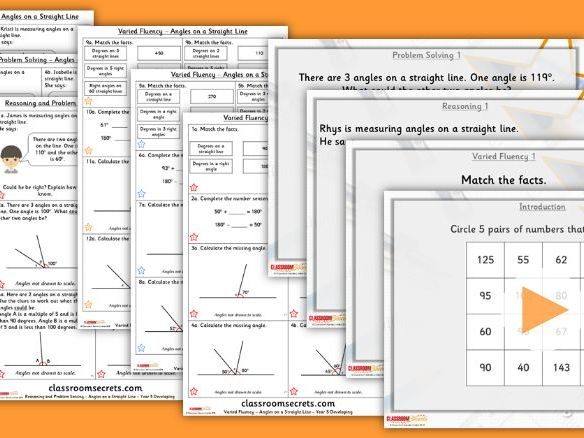 Year 5 Angles on a Straight Line Summer Block 2 Step 5  Lesson Pack