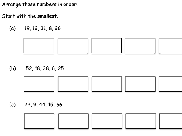 Ordering numbers up to 100