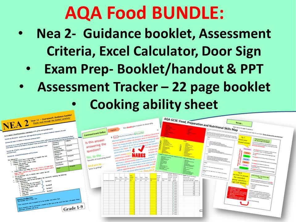 THE AQA NEA2 Guidance, Exam Prep, Assessment Tracker & Cooking ability tracker BUNDLE