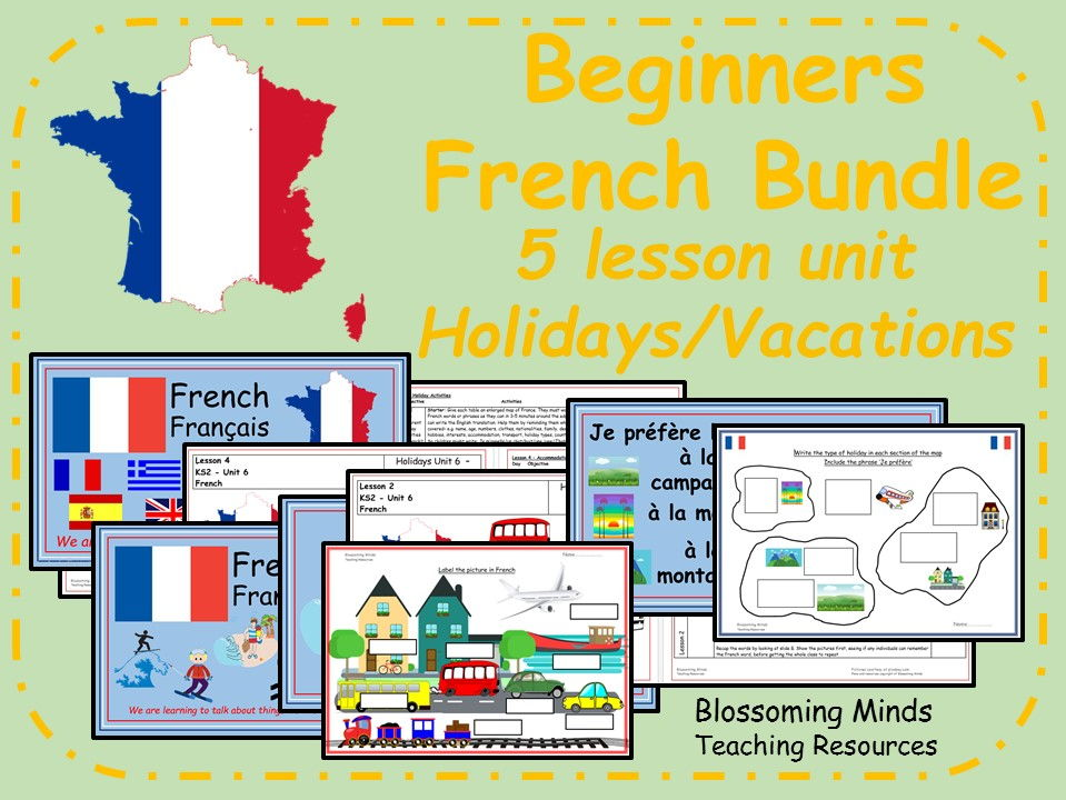 French lesson bundle - KS2 - Holidays (vacations)