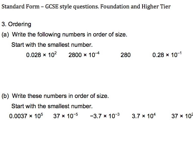Standard Form Gcse Five Sides Of Questions Adapted From Gcse Papers