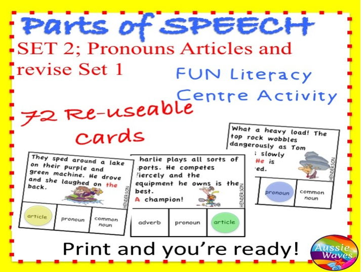 PARTS OF SPEECH Centre Activities SET 2 Can you identify PRONOUNS and ARTICLES?