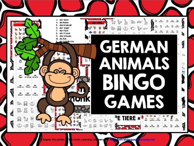 GERMAN ANIMALS BINGO