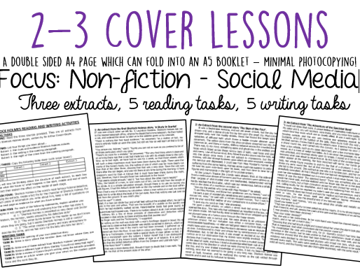 Cover Lessons: Social Media Articles + Reading/Writing Activities