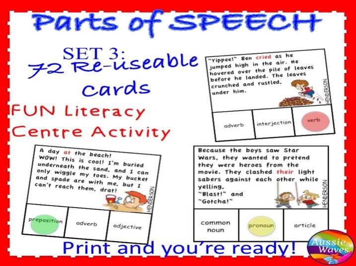 PARTS OF SPEECH Centre Activities SET 3 Can you identify prepositions, conjunctions and interjection