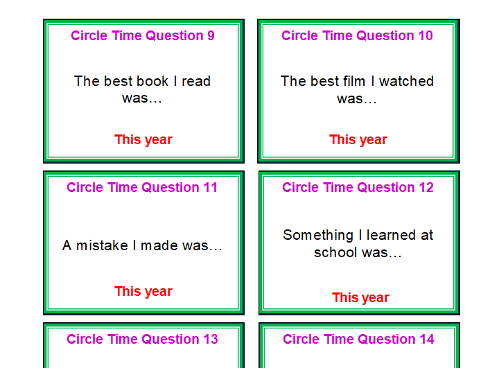 KS1 & KS2 New Year/New Me: Set of Circle time reflection and affirmation cards.