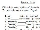 German present tense verbs worksheet