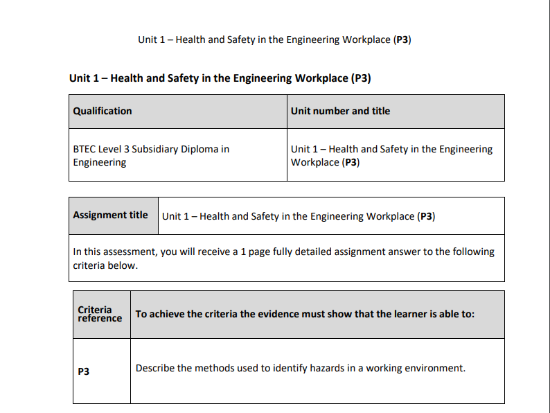 BTEC Level 3 Engineering: Unit 1 (P3) – Health and Safety in the Engineering Workplace