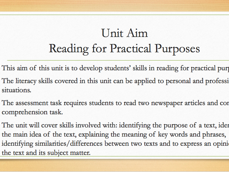 VCAL Literacy - Reading for Practical Purposes Task