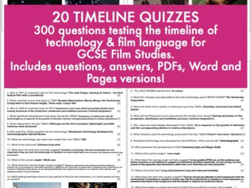 Timeline of technology quizzes for GCSE Film Studies