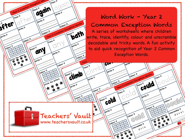 Word Work - Year 2 Common Exception Words