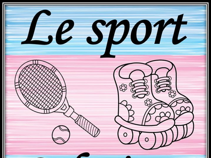 Sport equipment in French.  Coloring pages.
