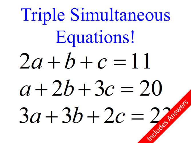 Triple Simultaneous Equations