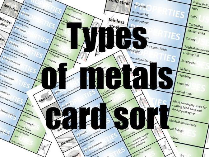Metal Properties: Card Sort/Revision Aid