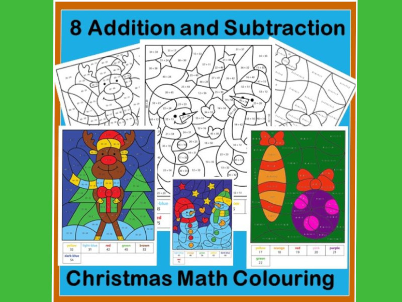 Christmas Maths : Calculated Colouring - Addition and Subtraction