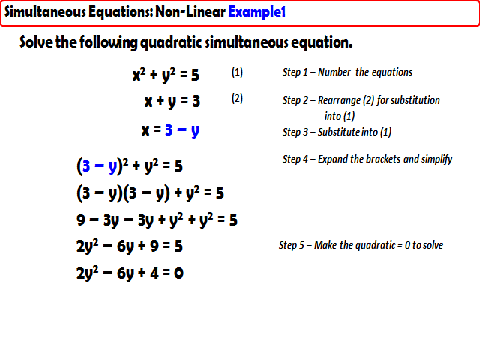 Simultaneous Equations - Non-Linear